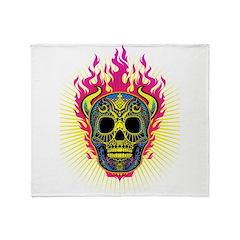 skull Dull Flames Throw Blanket