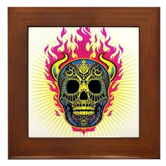 skull Dull Flames Framed Tile