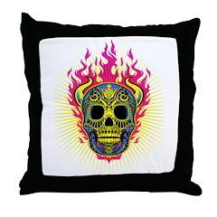 skull Dull Flames Throw Pillow
