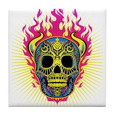 skull Dull Flames Tile Coaster