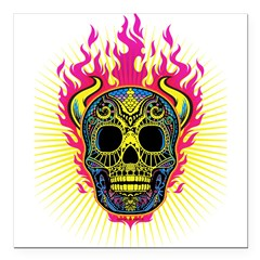 skull Dull Flames Square Car Magnet 3