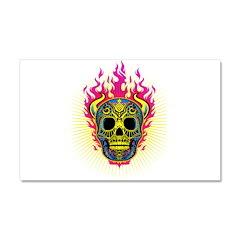 skull Dull Flames Car Magnet 20 x 12