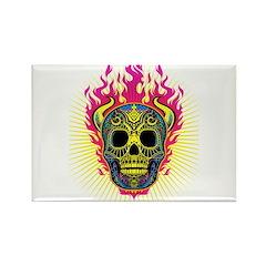skull Dull Flames Rectangle Magnet