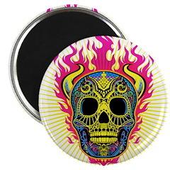 skull Dull Flames Magnet