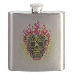 skull Dull Flames Flask