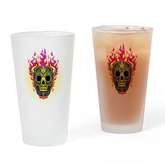 skull Dull Flames Drinking Glass