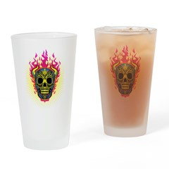 skull Dull Flames Drinking Glass