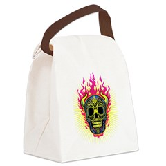 skull Dull Flames Canvas Lunch Bag