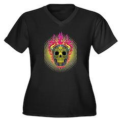 skull Dull Flames Women's Plus Size V-Neck Dark T-