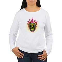 skull Dull Flames Women's Long Sleeve T-Shirt