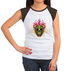 skull Dull Flames Women's Cap Sleeve T-Shirt