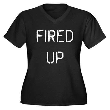 Fired Up Women's Plus Size V-Neck Dark T-Shirt