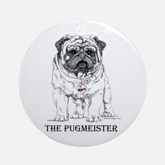 The Pugmeister Pug Ornament (Round)