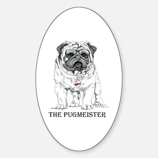 The Pugmeister Pug Sticker (Oval)