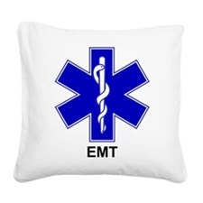 Blue Star of Life - EMT.png Square Canvas Pillow