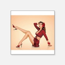 """vintage pin up girl Square Sticker 3"""" x 3"""""""