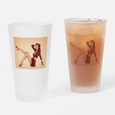 vintage pin up girl Drinking Glass
