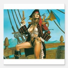 """pin-up pirate Square Car Magnet 3"""" x 3"""""""