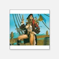 "pin-up pirate Square Sticker 3"" x 3"""