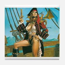 pin-up pirate Tile Coaster