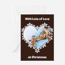 Giraffe and Calf Snowflake Heart Greeting Card