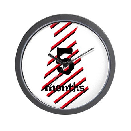 Red Black Stripes 5 Months Tie Wall Clock
