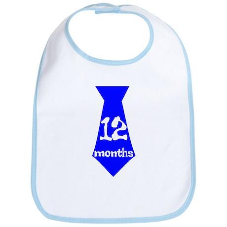 Blue 12 Months Tie Bib