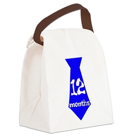 Blue 12 Months Tie Canvas Lunch Bag