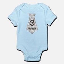 Grey Print 3 Months Tie Infant Bodysuit