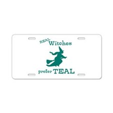 Teal Witch Aluminum License Plate