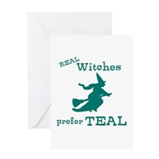 Teal Witch Greeting Card