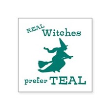 """Teal Witch Square Sticker 3"""" x 3"""""""