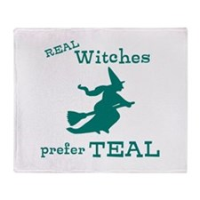 Teal Witch Throw Blanket