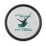 Teal Witch Large Wall Clock