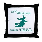 Teal Witch Throw Pillow