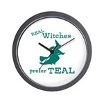 Teal Witch Wall Clock