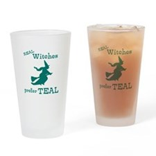Teal Witch Drinking Glass