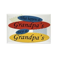 What Happens At Grandpa's Rectangle Magnet