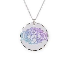 Triple Goddess Necklace Circle Charm