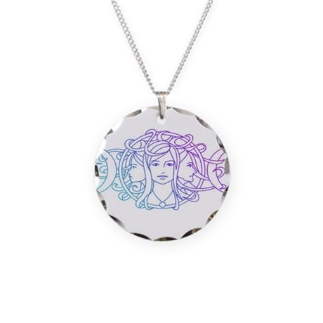 Triple Goddess Necklace Circle Charm