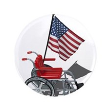 "American Flag and Wheelchair 3.5"" Button (100 pack"