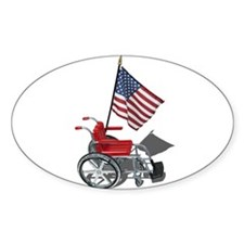American Flag and Wheelchair Decal