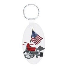 American Flag and Wheelchair Aluminum Oval Keychai
