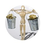 Balancing Buckets of Gold Ornament (Round)