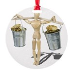 Balancing Buckets of Gold Round Ornament