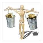 Balancing Buckets of Gold Square Car Magnet 3