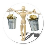 Balancing Buckets of Gold Round Car Magnet