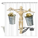 Balancing Buckets of Gold Shower Curtain
