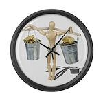 Balancing Buckets of Gold Large Wall Clock
