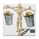 Balancing Buckets of Gold Tile Coaster